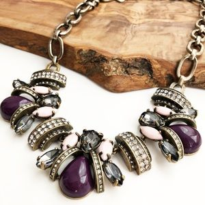 J. Crew antiqued gold purple statement necklace